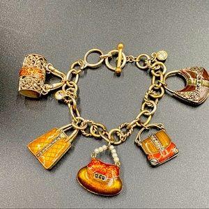 Chunky Rhinestone Accented Handbag Bracelet